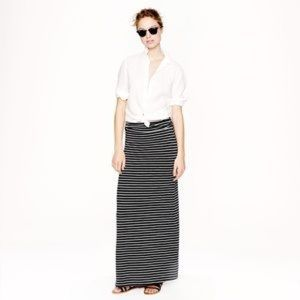 J. Crew striped long maxi skirt medium black white